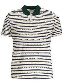 جيب قميص بولو مخطط - أبيض Xl