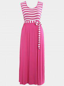 Plus Size Striped Belted Maxi Dress - Tutti Frutti 4xl
