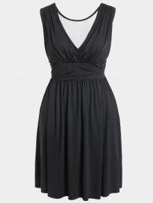 Ruched Back Low Cut Plus Size Dress - Black 2xl