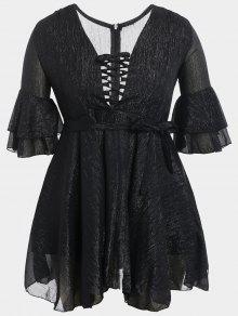 Flare Sleeve Plus Size Lace Up Dress - Black 2xl