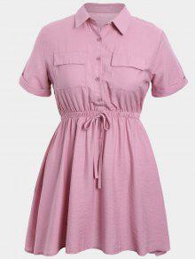 Plus Size Cuffed Shirt Dress - Pink 2xl