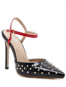 Rivets Slingback Patent Leather Pumps - Black 40