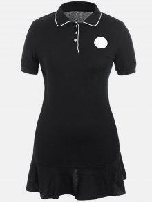 Plus Size Ruffle Polo Dress - Black 2xl