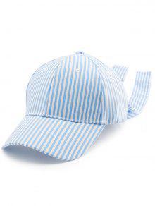 Striped Bowknot Long Tail Baseball Hat - Pinkish Blue