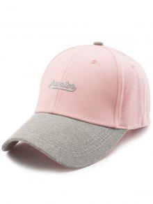 Two Tone Letters Embroidery Baseball Hat - Light Pink