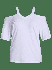 338b0f31c211c 55% OFF  2019 Plus Size Cold Shoulder Top In WHITE 5XL