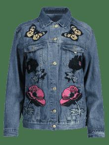 De Chaqueta Remolinos S Mezclilla Mariposa Florales Con De Floral Blue Denim nqA7wrRYqx