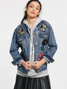Butterfly Floral Patched Pockets Denim Jacket - Denim Blue L