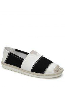 Elastic Band Striped Canvas Flat Shoes - Black 40
