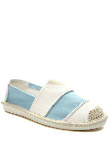 Elastic Band Striped Canvas Flat Shoes - Light Blue 38