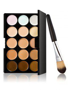 15 Colours Concealer Palette And Foundation Brush - Multi
