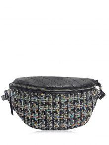 Quilted Plaid Pattern Chain Crossbody Bag - Black