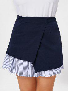 Stripe Panel Plus Size Skirt - Deep Blue 3xl