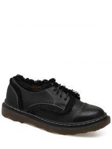 Stitching Fringe Tie Up Flat Shoes - Black 37