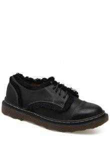 Stitching Fringe Tie Up Flat Shoes - Black 39