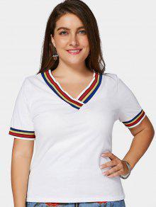 High Low Striped Plus Size T-shirt - White 4xl