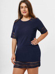 Plus Size Laser Cut Out Bodycon Dress - Purplish Blue 4xl