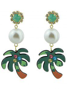Faux Pearl Rhinestoned Coconut Tree Earrings - Green