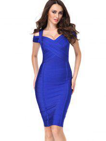 فستان الضمادة قطع الرقبة على شكل القلب - أزرق L