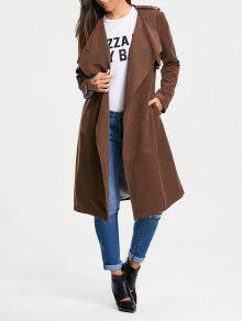 Buy Faux Suede Long Belted Wrap Trench Coat - TAN M