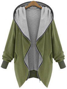 معطف بقلنسوة الحجم الكبير بسحاب - الجيش الأخضر Xl