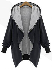 معطف بقلنسوة الحجم الكبير بسحاب - أسود 2xl