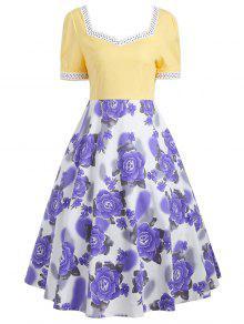 Sweetheart neck flower print 50s swing dress yellow dresses 2018 s sweetheart neck flower print 50s swing dress mightylinksfo
