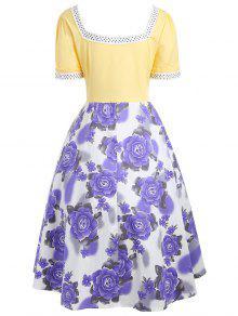 Sweetheart neck flower print 50s swing dress yellow dresses 2018 sweetheart neck flower print 50s swing dress mightylinksfo