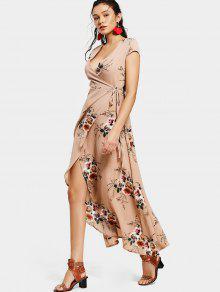 فستان ماكسي لف غير متماثل طباعة الازهار - الأزهار M