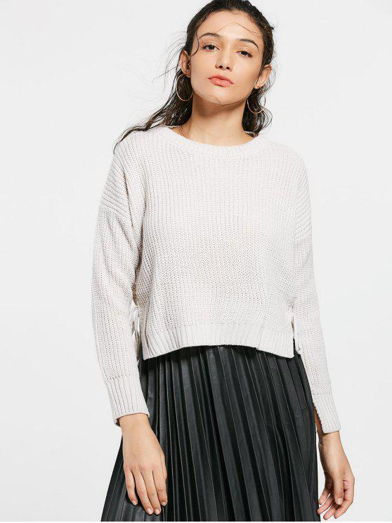 lady Drop Shoulder Side Slit High Low Sweater - OFF-WHITE ONE SIZE