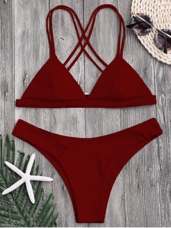 women High Cut Cross Back Thong Bikini - DEEP RED S