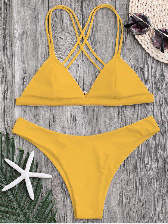 lady High Cut Cross Back Thong Bikini - YELLOW S