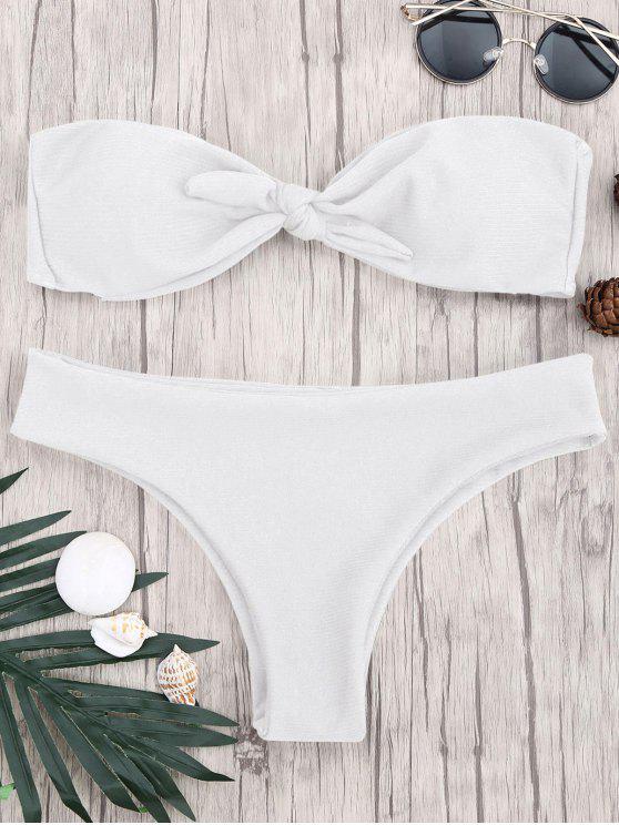 women Padded Knotted Bandeau Bikini Set - WHITE S