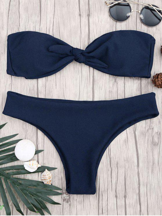 Ensemble de bikini à bandeaux noués rembourrés - Bleu Violet S