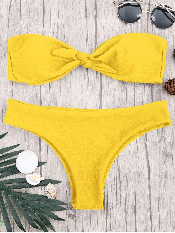 new Padded Knotted Bandeau Bikini Set - YELLOW S