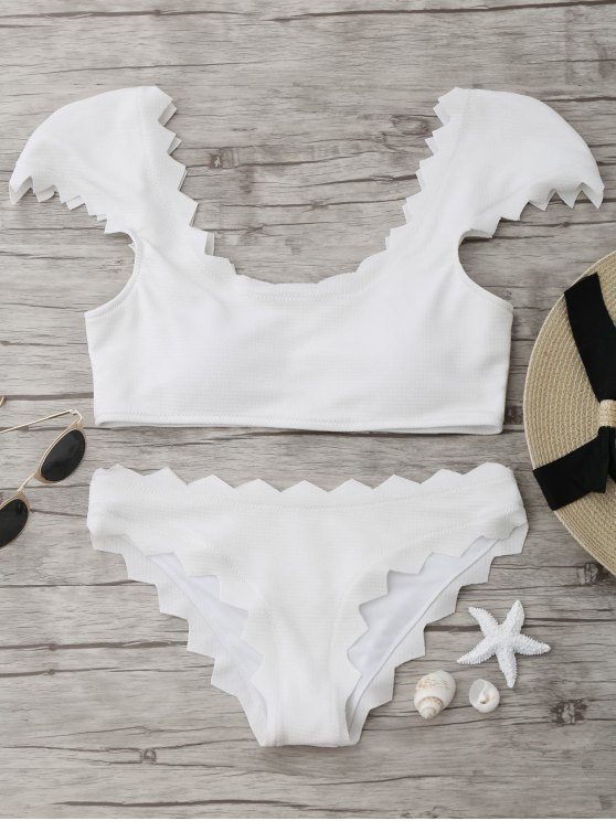 hot Textured Scalloped Bikini Set - WHITE L