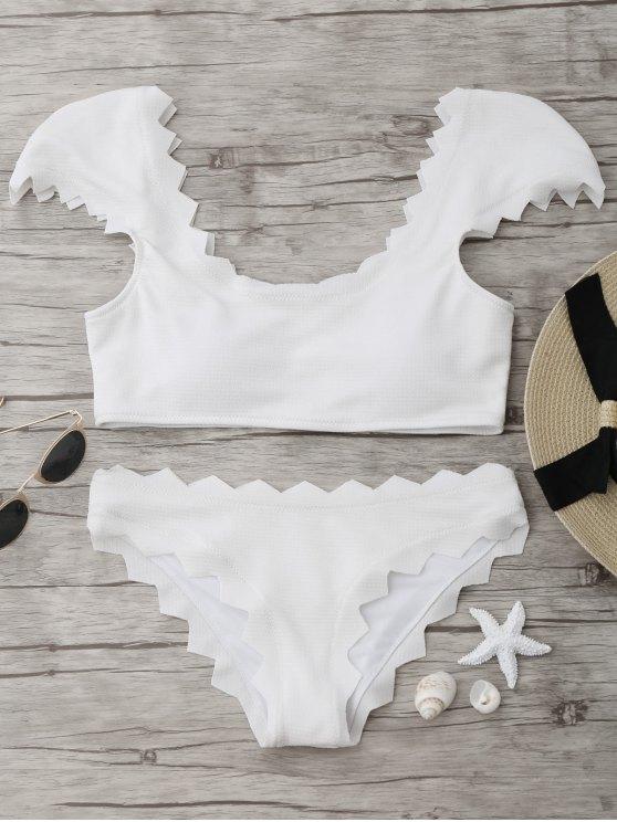 Ensemble de bikini scalloté texturé - Blanc L