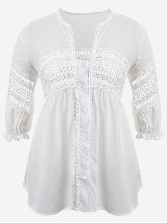 shops Crochet Panel Plus Size Laser Cut Blouse - WHITE 5XL
