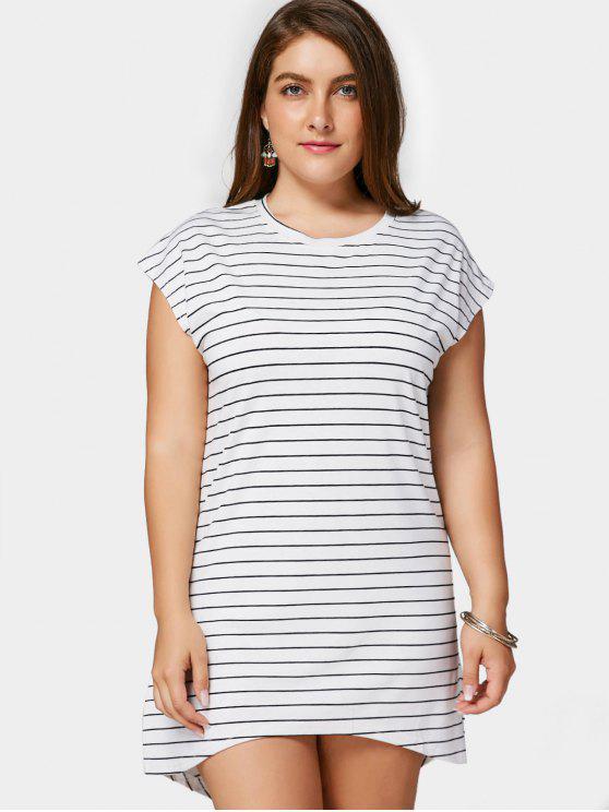 latest Striped High Low Plus Size Dress - WHITE 2XL
