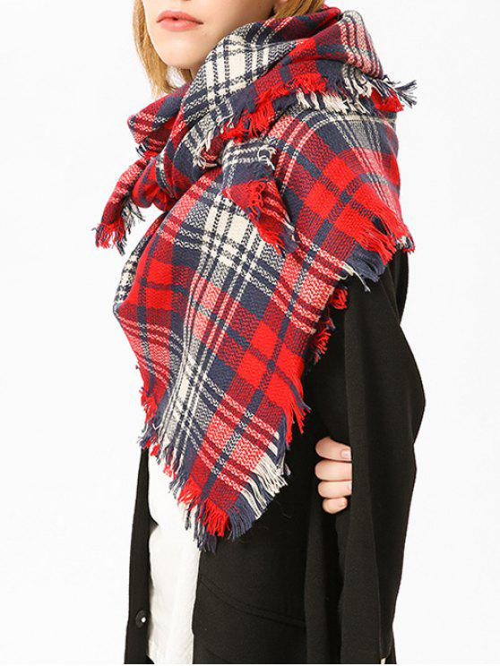 Echarpe à châles à carreaux à rayures bordées - Rouge