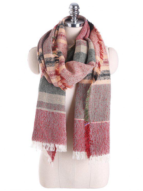Cachecol misturado com algodão à moda - Vermelho