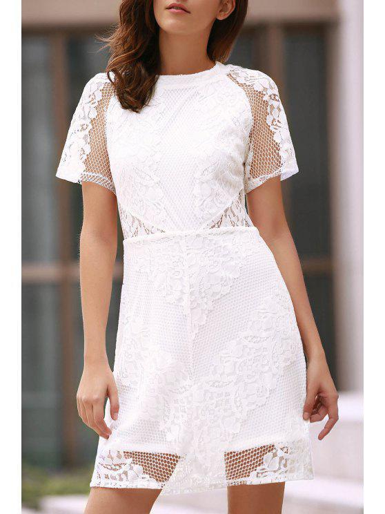 women's Openwork Lace Hook White Dress - WHITE XL