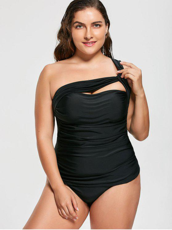 shops One Shoulder Plus Size Tankini Set - BLACK 3XL