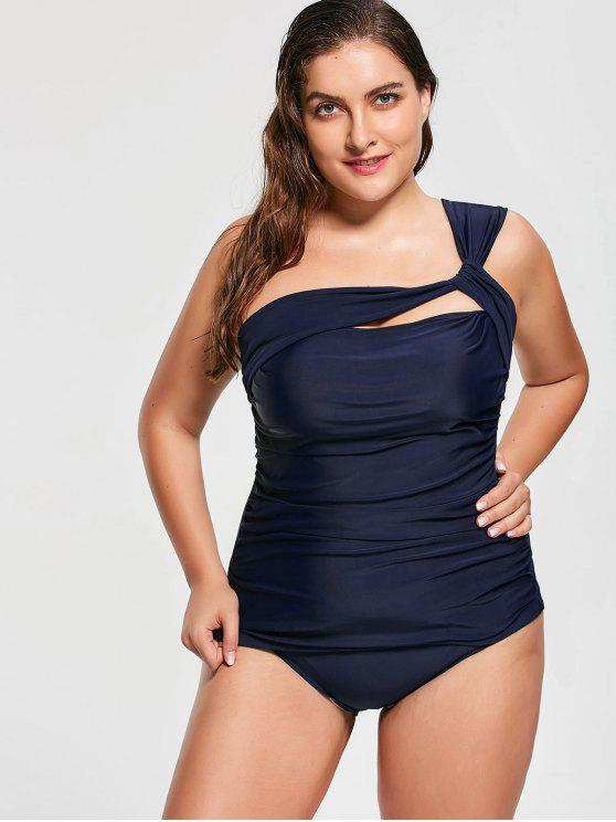 fashion One Shoulder Plus Size Tankini Set - DEEP BLUE 3XL