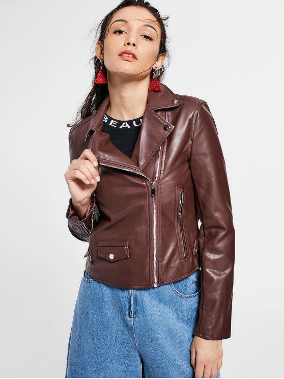 hot Zip Up Pockets Faux Leather Jacket - DARK AUBURN L