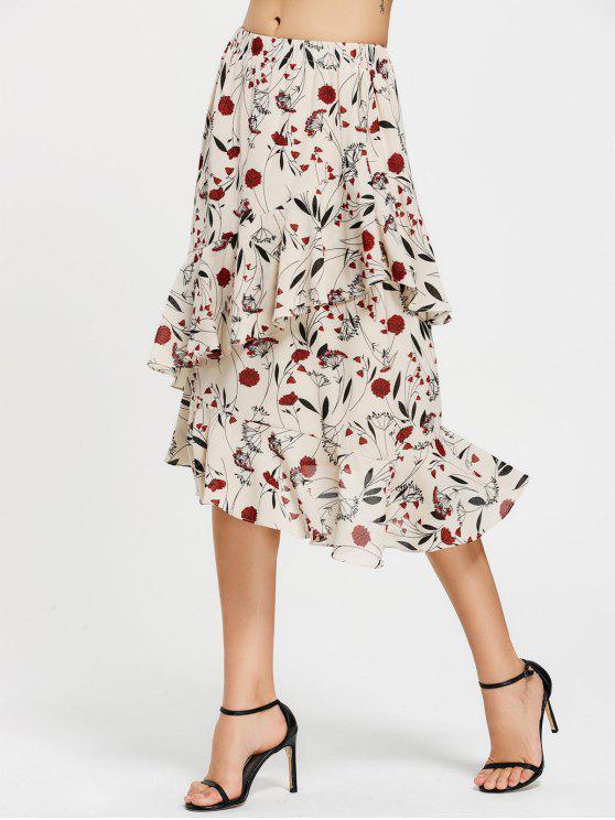 shop Floral Print Ruffle Hem Asymmetric Skirt - FLORAL M