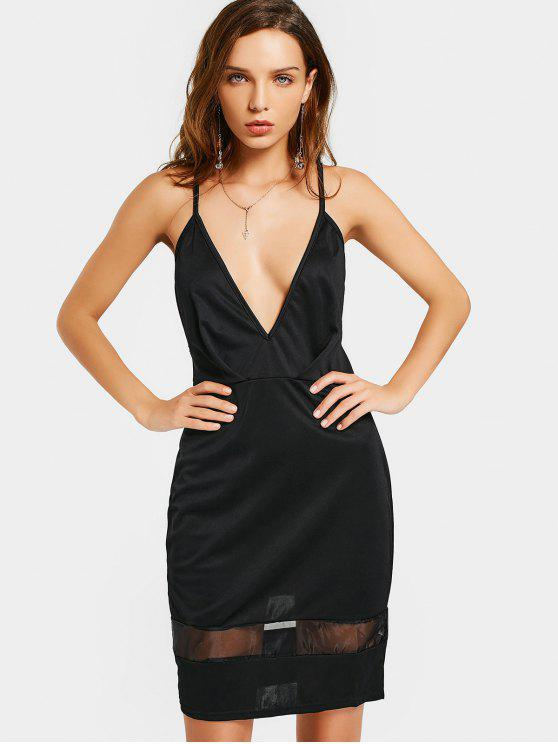 fashion Lace Panel Cami Club Dress - BLACK L
