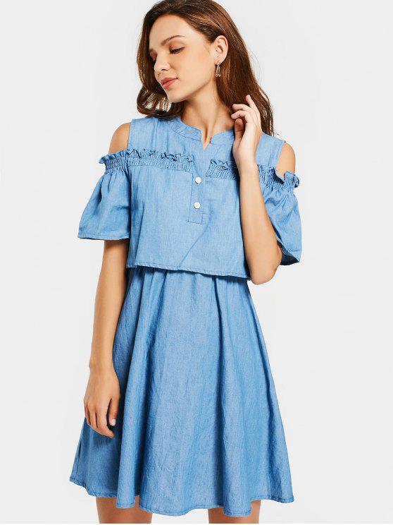Colmillos de hombro frío vestido de una línea - Denim Blue 2XL