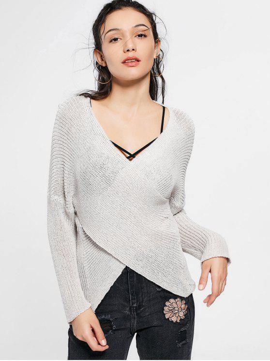 Suéter del hombro de la gota del cuello de hundimiento - Gris Claro Única Talla
