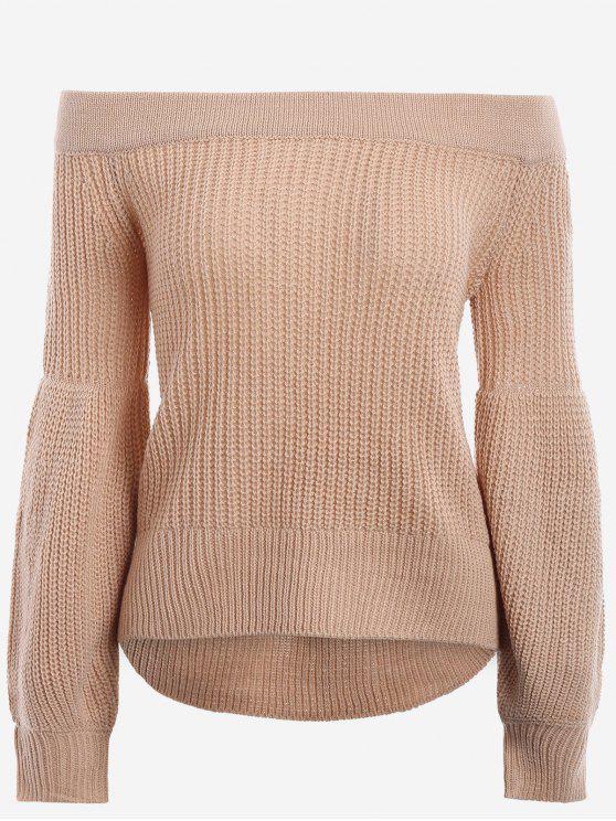 Manga de la linterna del suéter del hombro - Caqui Única Talla